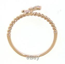 0.03 Carat Real Natural Cluster Diamond Bow Style Ring Jewelry 14K Rose Gold