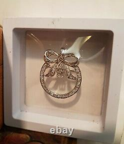 1.57Ctw Diamond Bow Pendant Brooch with Chain 14K White Gold VVS2 E F 8.22Grams