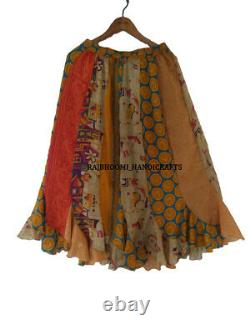 10 Recycle Silk Sari Mid- Calf Skirts Wholesale Lot DS48