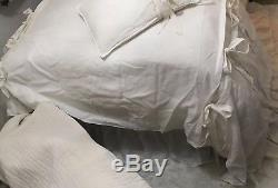 100% EUROPEAN FLAX LINEN ELEGANT CHIC Oversized QUEEN DUVET Ruffles & Bows $538
