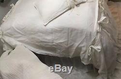 100% Lux EURO FLAX LINEN ELEGANT Oversized QUEEN DUVET & SHAMS Ruffle & Bow $701