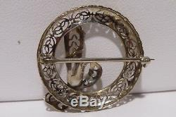 10k White Gold Bow Filigree Brooch Pin Branch Round Holiday Handcrafted Estate