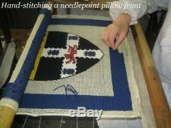 12x16 Handmade Wool Needlepoint French Antique Bow Set Pillow with Tassels