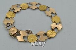 14 &18K Vintage Mexican 1865 Coin Replica, Emperor Maximiliano& Bow Motif BT269