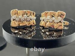 14k Gold Clip Earrings With Phianite Stones Fianite Diamond Flower Girl Leaf BOW
