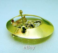 14k Gold Saltwater Cultured Pearl Diamond Bow Circle Brooch Pin Vintage