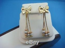 14k Multi-tone Gold Bows Dangle Post Earrings With Beats, 5.4 Grams