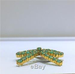 14k Solid Yellow Gold Genuine Emerald Bow Pendant. Retail $1300