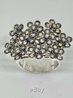 14k WHITE GOLD DIAMOND COCKTAIL RING WITH BLACK RHODIUM FINISH