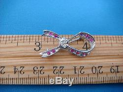 14k White Gold Ruby And Diamonds Small Bow Brooch, 2.3 Grams, 27.4 MM Long
