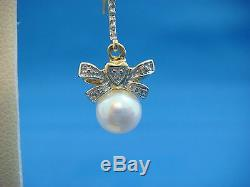 14k Yellow Gold Bow Design Small Diamonds & Pearls Dangle Earrings, 3 Grams