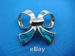 14k Yellow Gold Fancy Bow Pendant-slide With Multi-color Inlaid Opal, 5.6 Grams