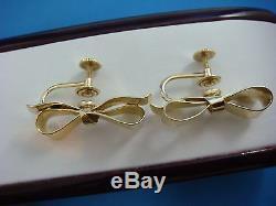 14k Yellow Gold Retro Modern, Bow Design Earrings Screw Non Pierced 8.5 Grams