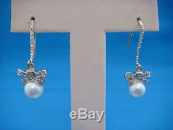 14k Yellow Gold Small Diamond Bows With Pearls Dangle Earrings, 3 Grams