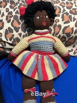 17 Folk Art Doll Brown Negro Black Americana Primitive Bows Hand Made Girl Toy