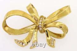 18K Gold Beautiful. 30CT Diamond Bow Ribbon Brooch