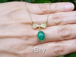 18K Oval Emerald Pendant Natural Colombian Emerald & Diamond Bow Necklace