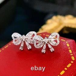 18K White Gold Diamond Bow Ribbon Stud Earrings 0.50ctw Vintage Elegant Earrings