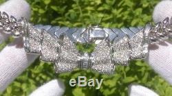 18K white gold 5.0CT VS2/G diamond cluster BOW pendant necklace 71.9 grams