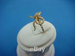 18k Yellow Gold Ladies Twisted Ribbon Bow Ring With Single Diamond 5.3 Grams