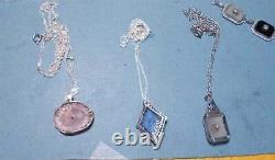 1920s Pale Pink Camphor Glass Necklace Silver Floral Filigree Bow 2 Rhinestones