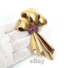 1950s 3.50ct Fine Ruby & Hand Made 14K Yellow Gold Large Size Bow Brooch