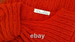 $2,400 Oscar De La Renta Stunning Red 100% Pure Cashmere Hand Knit Blouse Us S