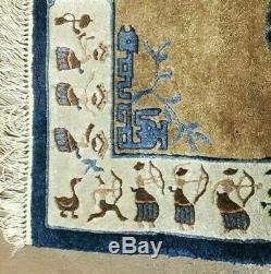 2' X 3' Hand Made Chinese Silk Rug Bird Dancers Archery Bow Arrow One Of A Kind