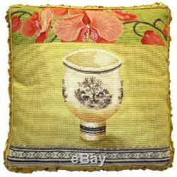 20 x 20 Handmade Wool Needlepoint Petit Point Country Cottage Bow Pillow