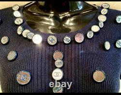 $2750 CHANEL 08p Logo 28 BUTTON CHARM 2008 Top 38 40 42 44 6 8 10 12 Purse Shirt