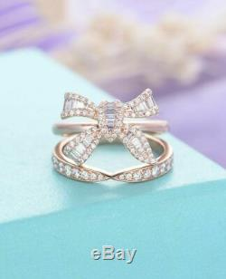 2ct Baguette Round Diamond Bow Knot Unique Engagement Ring 9ct Solid Rose Gold