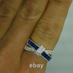 2ct Round Blue Sapphire Wedding Band Ring Solid 14K White Gold Bow Knot Unique