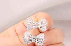3Ct Baguette Cut Diamond Bow Tie Knot Cluster Stud Earrings 14ct White Gold Over