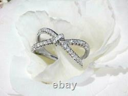3ct Round Cut Diamond Engagement Ring Bow Knot Unique Women 14k WhiteGold Over
