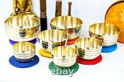 7 chakra Planetary Tibetan Handmade 7 pieces set for heaven of sound singing bow