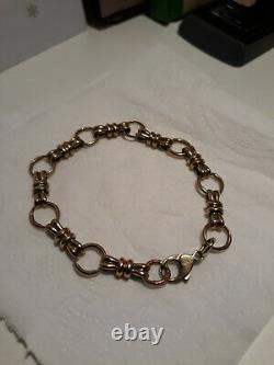 9ct yellow gold bracelet Victorian bow design 18cm long 15.27grams GC