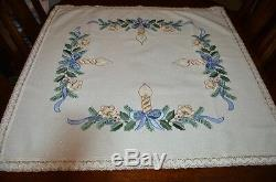 A Christmas Of Blue Bows & Holiday Edelweiss! German Hand Emb Sparkle Tablecloth