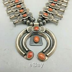 A Gorgeous Handmade Coral Squash Blossom Necklace in the Box-Bow style