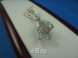 ANTIQUE 14K WHITE GOLD ART-DECO FILIGREE BOW BROOCH WITH DIAMOND CIRCA 1920's