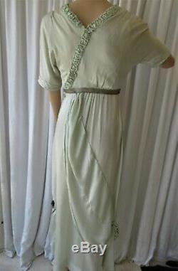 ANTIQUE 1920's FRENCH SILK SATIN ART DECO DRESS. METALLIC RIBBON BOWS. XS