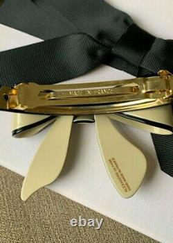Alexandre de Paris Signature Black and Beige Bow Hand Made Hair Barrette