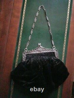 Amazing Antique Repousse 800 Silver frame with Black Velour Purse & handmade chain
