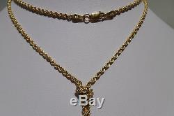 Amazing Bow Design 14k Yellow Solid Gold Rope Chain 10.3 Grams 24 Long Estate