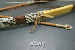 American Handmade Raw Hide Wrapped Beaded Bow and Arrow Wall Decor
