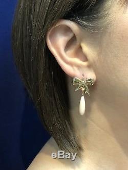 Angel Skin Coral & 14k Yellow Gold Bow Dangle/Drop Earrings, New