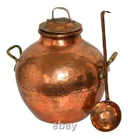 Anrique Copper Pot with Cover and Ladle Authentic Middle East Cooking Lidded Bow