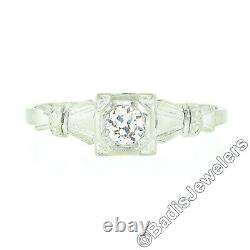 Antique 18K Gold 0.30ct Old European Diamond Solitaire Bow Sides Engagement Ring