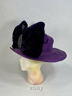 Antique 1910's Edwardian rare PURPLE silk hat with velvet bow & steelwork buckle