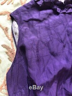 Antique 1930s Purple Silk Sleeveless Blouse Ruffle Collar Bow Handmade Vintage