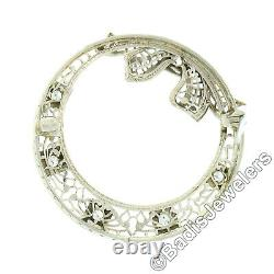 Antique Art Deco 14k White Gold Diamond Filigree Circle Wreath with Bow Brooch Pin